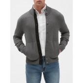 Snap Mock Neck Sweater Jacket