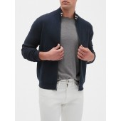 Tipped Collar Mock Neck Sweater Jacket