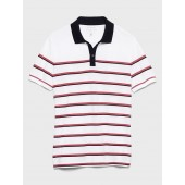 Slim-Fit Stripe Contrast Collar Pique Polo