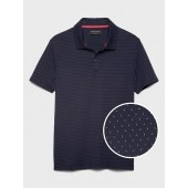 Slim-Fit Microprint Dress Polo