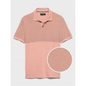 Slim-Fit Blocked Print Dress Polo