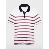 Stripe Contrast Collar Pique Polo