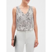 Snake Print Pleated Shoulder Tank