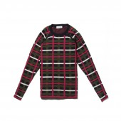 Womens Crew Neck Graphic Check Cotton And Wool Jacquard Sweater