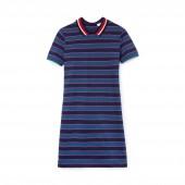 Womens Contrast Bands Striped Pique Polo Dress