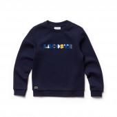 Girls Crew Neck Colored Embroidery Fleece Sweatshirt