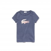 Girls Crew Neck Oversized Crocodile Striped Jersey T-shirt