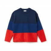 Womens Crew Neck Colorblock Cotton, Mohair And Wool Jersey Sweater