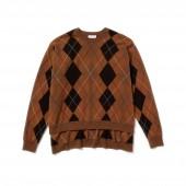 Womens Fashion Show Argyle Wool Jacquard Poncho Sweater