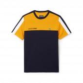 Mens SPORT Crew Neck Colorblock Pique Tennis T-shirt