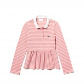 Girls Striped Pique Polo