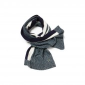 Mens Contrast Band Mouline Wool Jersey Scarf