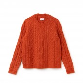 Womens Double Neck Alpaga And Wool Cable Knit Sweater
