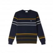 Mens Crew Neck Multicolor Striped Milano Cotton Sweater