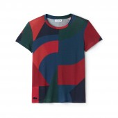 Womens Crew Neck Colorblock Lyocell and Cotton Jersey T-shirt