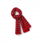 Womens Striped Cotton And Linen Scarf