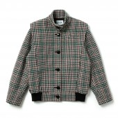 Womens Fashion Show Glen Plaid Wool Blend Buttoned Jacket
