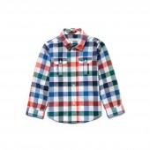 Boys Check Cotton And Linen Poplin Shirt