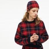 Womens Stand-Up Neck Tartan Check Print Wool Jacquard Sweater