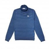 Womens Turtleneck Striped Wool Jersey Sweater