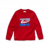 Boys Crew Neck Colorblock Lettering Fleece Sweatshirt