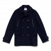 Mens Mid-Length Wool Jersey Pea Coat