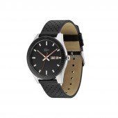 Mens Lacoste Legacy Watch with Black Punched Leather Strap