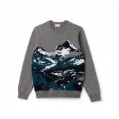 Mens Crew Neck Mountain Print Wool And Cotton Jacquard Sweater