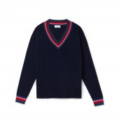 Womens V-neck Contrast Accent Silk Cotton Jersey Sweater