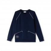 Womens Crew Neck Piped Crepe Fleece Sweatshirt