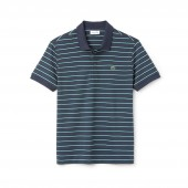 Mens Lacoste Regular Fit Striped Pima Cotton Interlock Polo