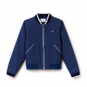 Womens SPORT Water-Resistant Zip Tennis Bomber Jacket