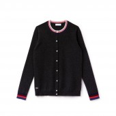 Womens Cashmere Jersey Striped Details Cardigan