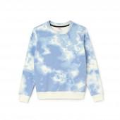 Womens LIVE Crew Neck Cloud Print Fleece Sweatshirt