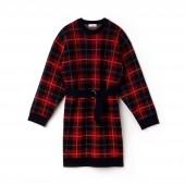 Womens Tartan Check Print Wool Jacquard Belted Sweater Dress