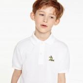 Boys' Embroidered Cotton Petit Pique Polo
