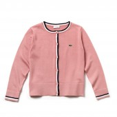Girls Contrast Finishes Cotton Jersey Cardigan
