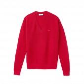 Womens V-neck Seed Stitch Cotton Sweater
