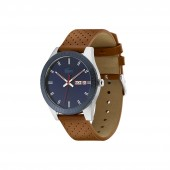 Mens Lacoste Legacy Watch with Brown Punched Leather Strap