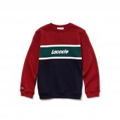 Boys Crew Neck Lettering Colorblock Jersey Sweater
