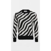 Mohair Zebra Stripe Crew Neck Sweater