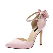 ERIJUNOR Women High Heel Bow Ankle Strap Evening Party Dance Wedding Satin Shoes