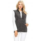 EttelLut Lightweight Polar Fleece Vest Jackets w Side Pockets Regular Plus Size
