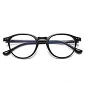 블루 라이트 차단 안경 빈티지 라운드 프레임 안경 여성용 남성용 블랙