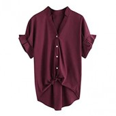 Women Plus Size Tops,Pure Color V-Neck Loose T-Shirt,Casual Short Ruffle Sleeved Summer Shirt Yops Blouse