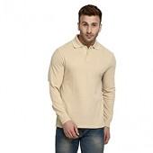 CHKOKKO Men's Regular Fit Cotton Long Sleeve Solid Golf Polo Shirts