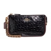 Coach Signature Debossed Patent Leather Large Wristlet
