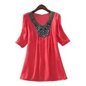 Vssjavun Womens Plus Size Stretch Boho Embroidered Long Tunic Blouse Shirts