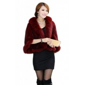 Bafei Women's Natural Mink Fur Knitted Cappa with Fox Fur Collar