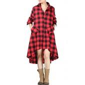 Mordenmiss Women's New Plaid Long Sleeve Button Down Hi-Low Hem Shirt Dress S-2XL